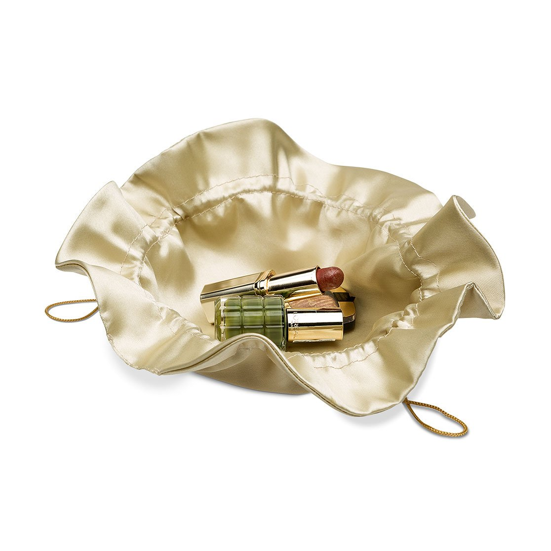 Rounded satin drawstring bag